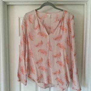 Hinge Pink Feather Printed Casual Top
